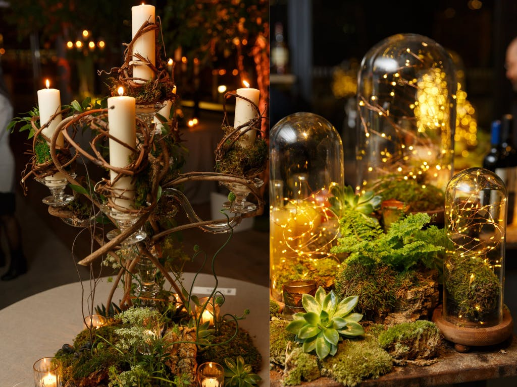 Enchanted Forest Wedding Centerpieces Ranging From Branch-Wrapped Candelabras to Cloches With Fairy Lights | PartySlate