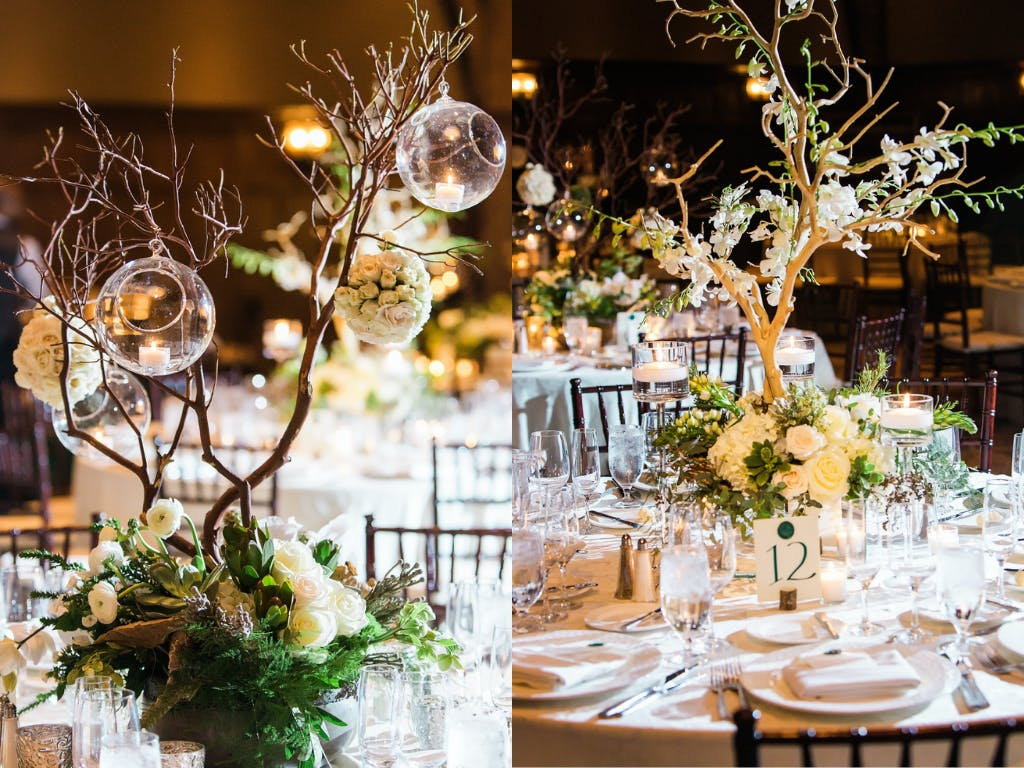 Ikebana-Style Wedding Centerpieces at Enchanted Forest Wedding | PartySlate