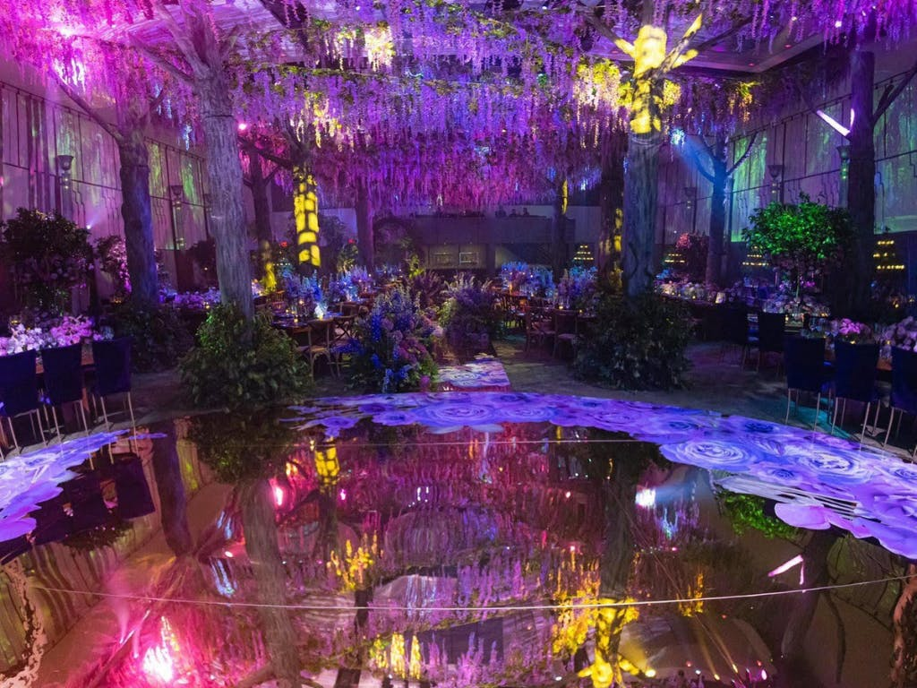 Enchanted Forest Wedding Dance Floor and Ceiling Installation in Kaleidoscopic Colors | PartySlate