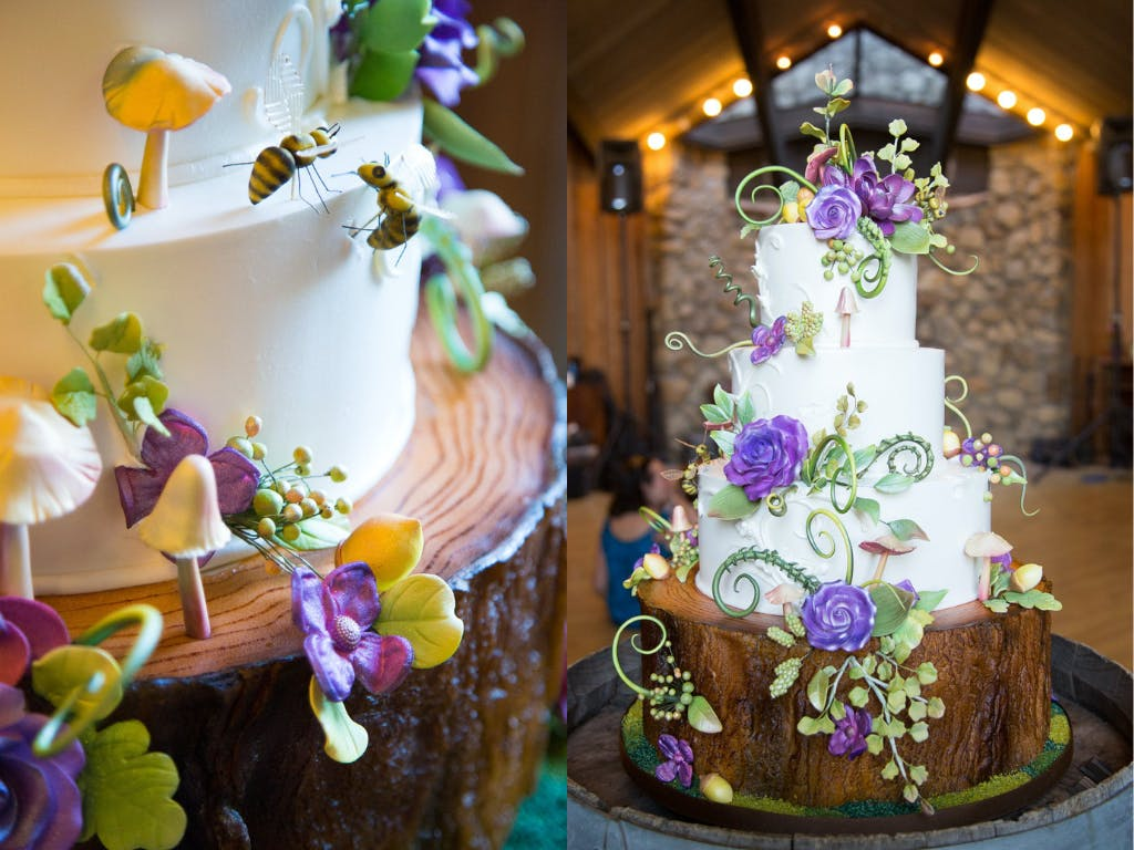 Enchanted Forest Wedding Cake With Frosted Bees, Mushrooms, and Fiddle Head Ferns | PartySlate
