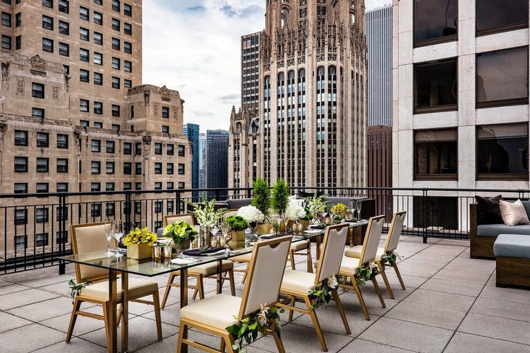 Intimate Tablescape with Greenery at Upstairs at The Gwen Terrace at The Gwen, a Luxury Collection Hotel, Chicago | PartySlate