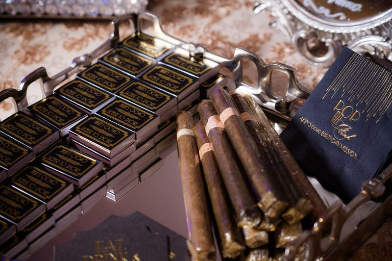 Cigar Station at James Bond-Themed Birthday Party | PartySlate