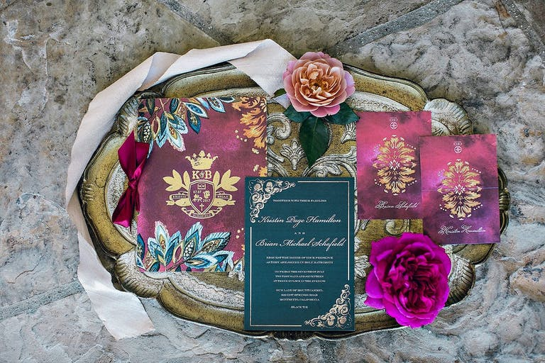 Jewel-Toned Unique Wedding Invitations With Gold Design Work | PartySlate