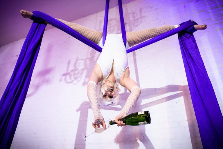 Lavish Gatsby Party With Acrobats Serving Champagne While Hanging from Linen | PartySlate