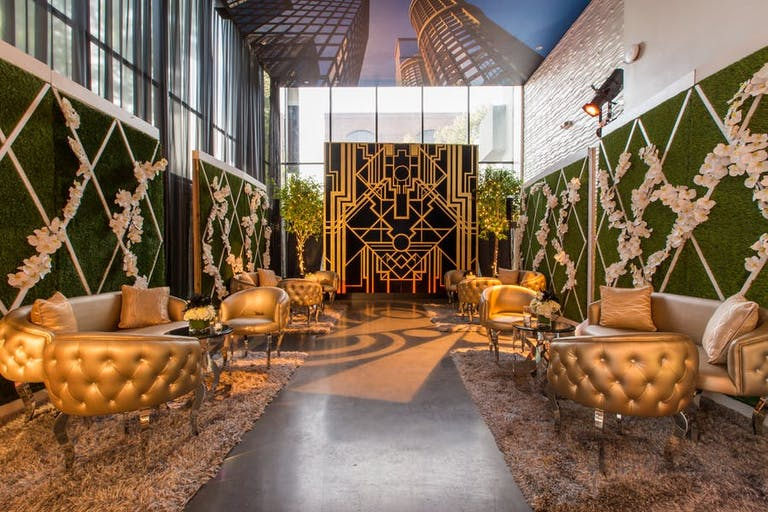 Gold Luxe Lounge Area at a Great-Gatsby Themed Party | PartySlate
