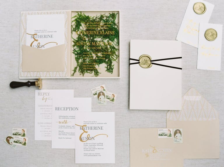 Boxed Wedding Invitation With Real Pine Needle Backdrop | PartySlate