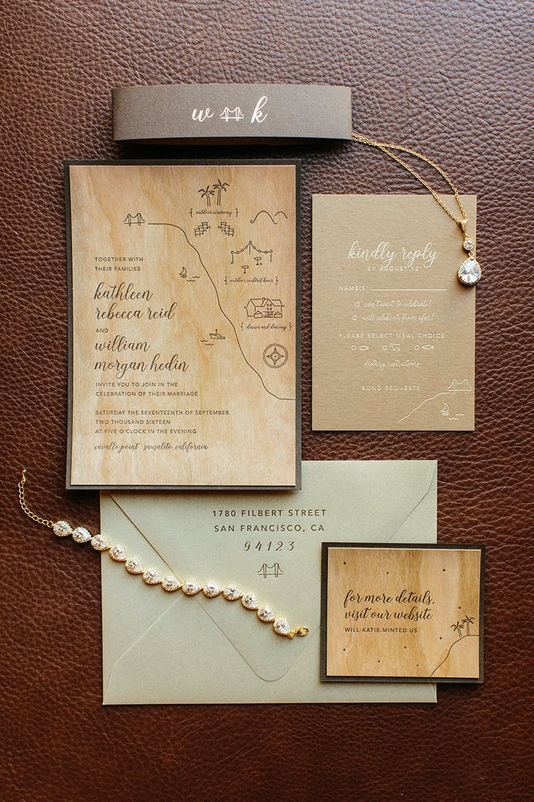 Wooden Wedding Invitations and Wedding Jewelry | PartySlate