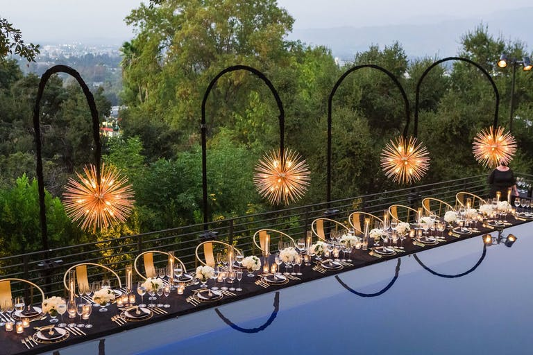 Outdoor Tablescape With Sputnik Lighting for Star Wars 50th Birthday Party Themes | PartySlate