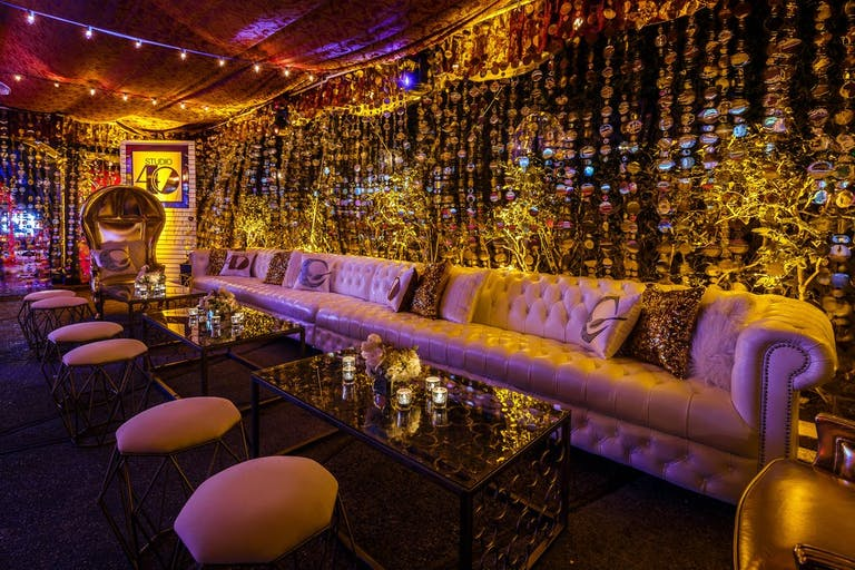Glitzy Gold Birthday Party Lounge Area | PartySlate