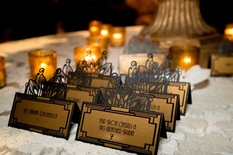 Art Deco Table Place Cards at Great-Gatsby Themed Party | PartySlate