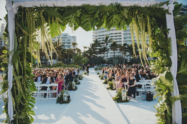 Glamorous green wedding reception in Miami   PartySlate