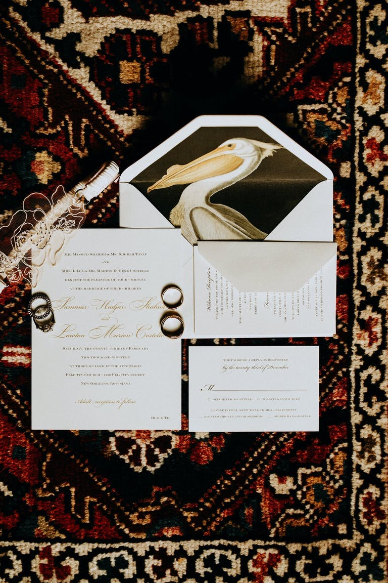 Wedding Invitation With Pelican Against Black Backdrop on Inner Envelope | PartySlate