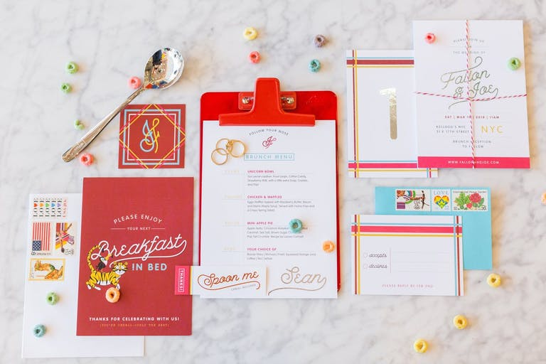 Cereal-Themed Wedding Invitations With Red and Teal Color Scheme for Brunch Wedding | PartySlate
