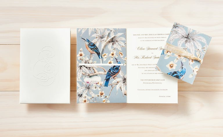 Unique Wedding Invitation With Blue Bird Design | PartySlate