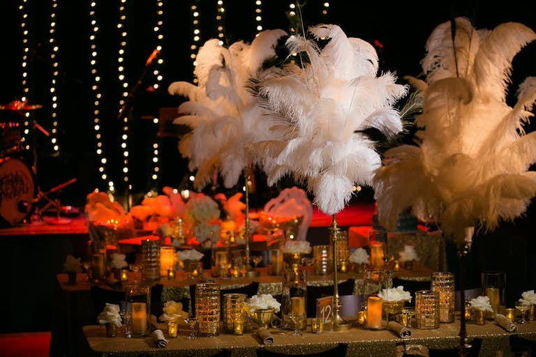 Lavish Gatsby Party Decor With White Feathers as Centerpieces | PartySlate