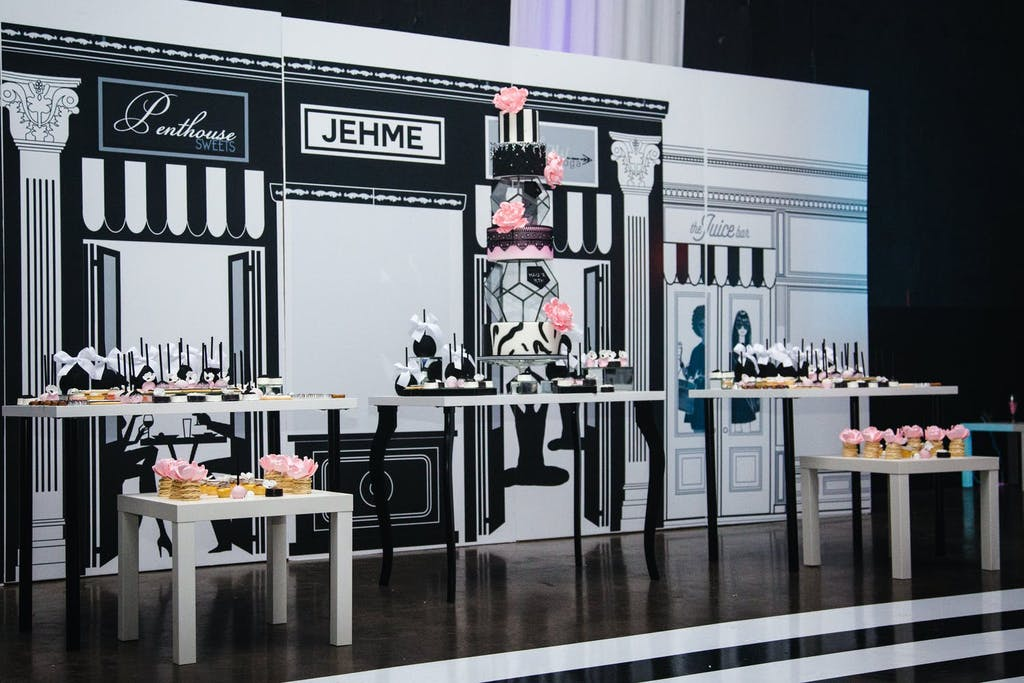 Paris-Themed Sweet 16 Store Front Photo Op in Pink, Black, and White Colors | PartySlate