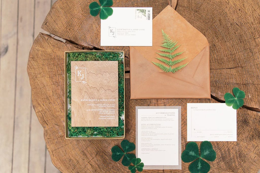 Enchanted Forest Wedding Theme Invitation Suite With Moss | PartySlate