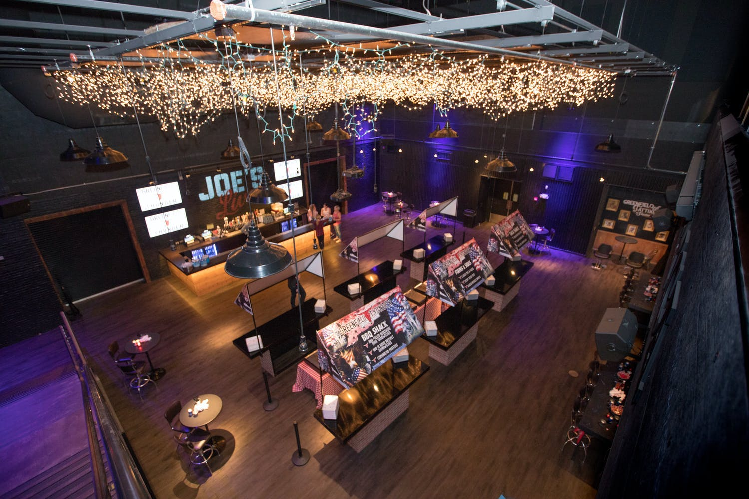 Country Music-Themed Party With Lighting Ceiling installation and American Food Stations | PartySlate