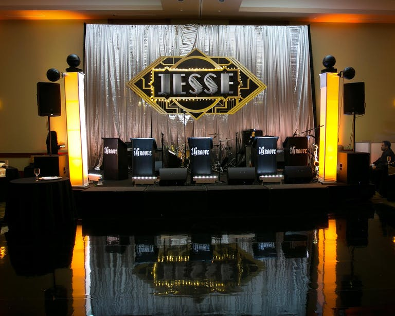 Art Deco Bar Mitzvah Band Stage With Personalized Signage That Reads