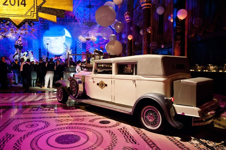 An Old Fashioned Car at Great Gatsby Party For Photo Opportunities | PartySlate