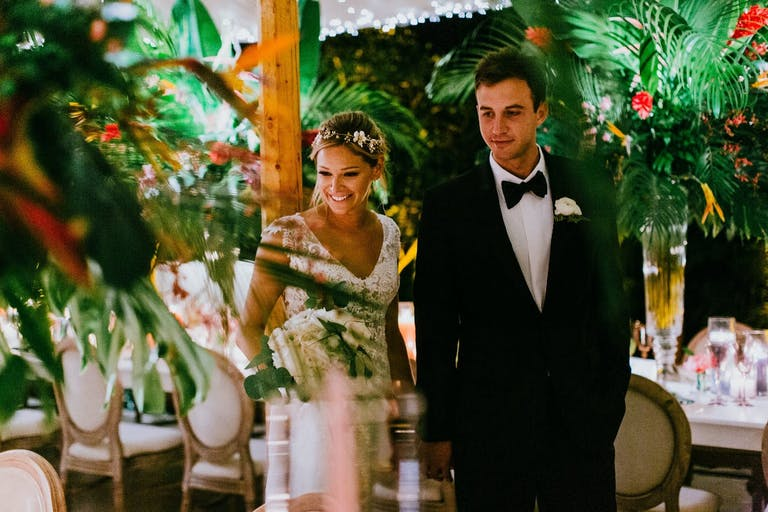 Tropical Theme Tented Socially Distanced Wedding   PartySlate