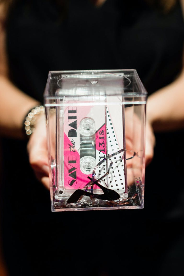 80s Themed Birthday Invitation Box with Pink Cassette Tape | PartySlate