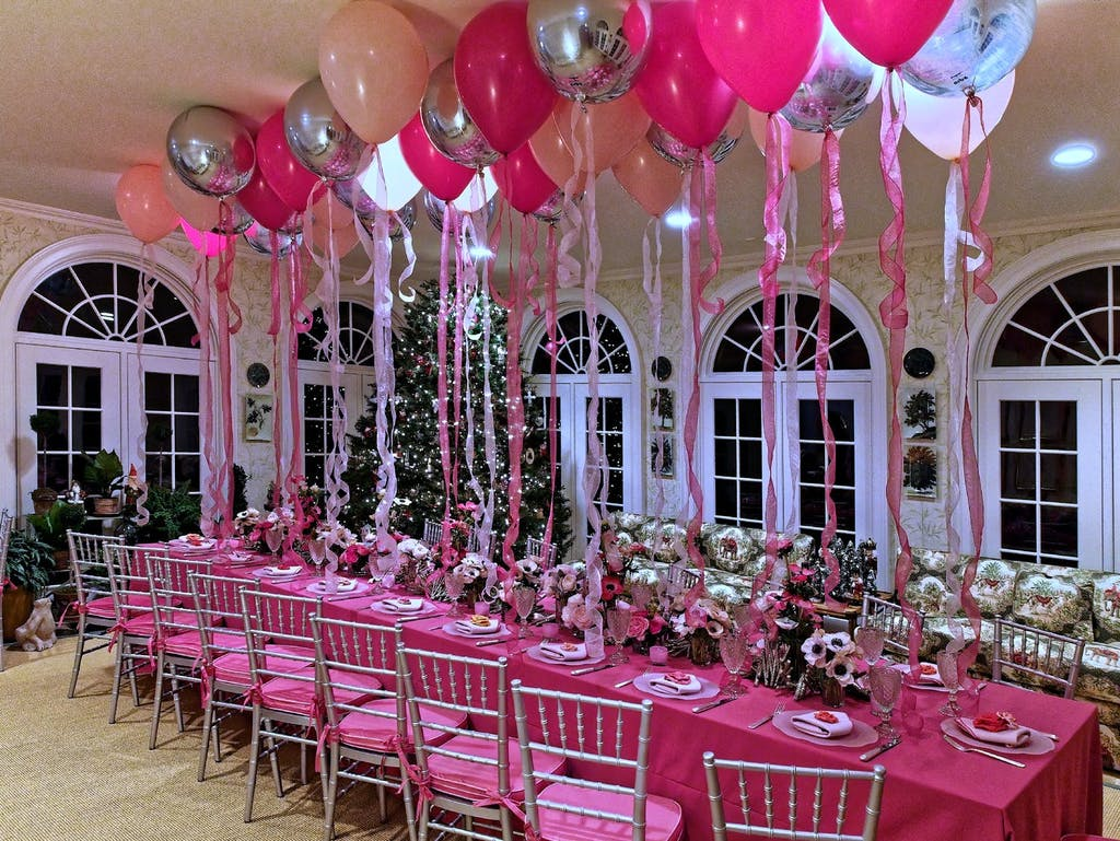PInk Sweet 16 Party With Pink Balloons and Linen | PartySlate