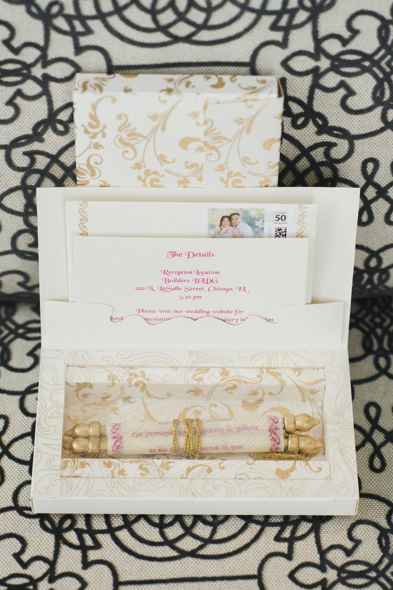 Boxed Wedding Invitation With Golden Scroll Invite | PartySlate