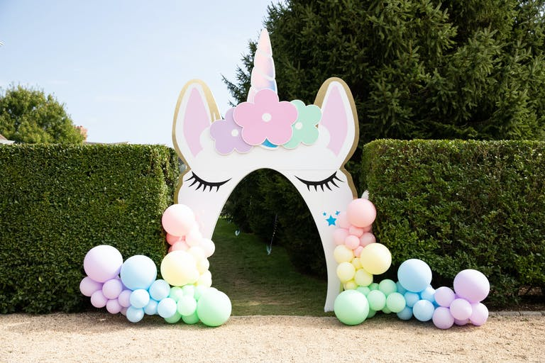 Kids 1st Birthday Party in Southampton, NY with Pastel Colored Unicorn Balloon Entrance | PartySlate