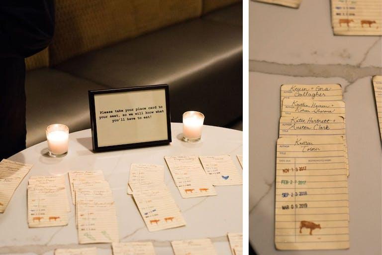 Card Catalogue Wedding Escort Cards on Circular Table | PartySlate