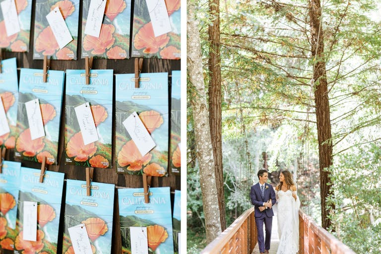 Collage of Bride and Groom in Forest and Poppy Seed Wedding Favor Place Cards in Blue and Orange Packaging | PartySlate