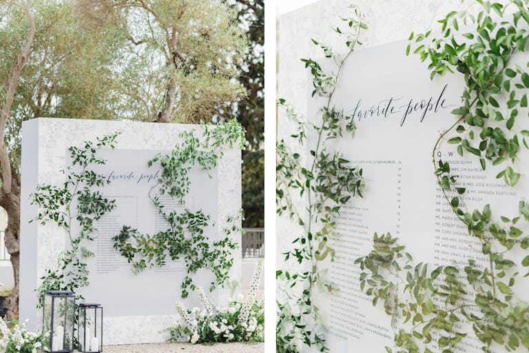 Ivy Wall Covered Wedding Seating Chart | PartySlate