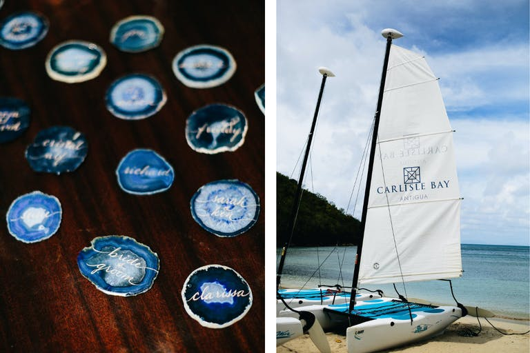 Photo Collage of Sailboat on Beach and Wedding Table Numbers and Guests' Names Inscribed on Blue Agate Stones | PartySlate