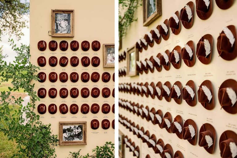 Wedding Seating Chart Decorated With Take-Home Cow Boy Hats | PartySlate