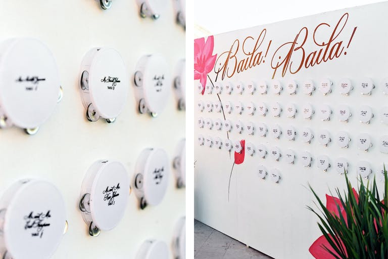 White and Pink Wedding Seating Chart With White Tamborine Table Numbers | PartySlate