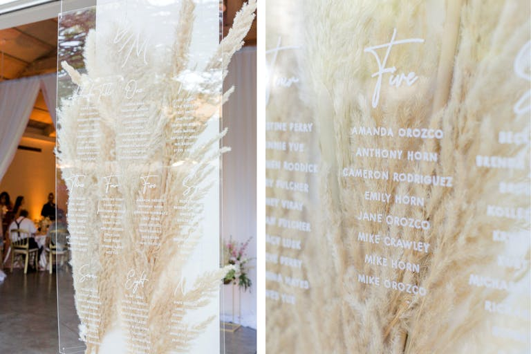 Wedding Seating With Inscribed Acrylic Covering Pampas Grass | PartySlate