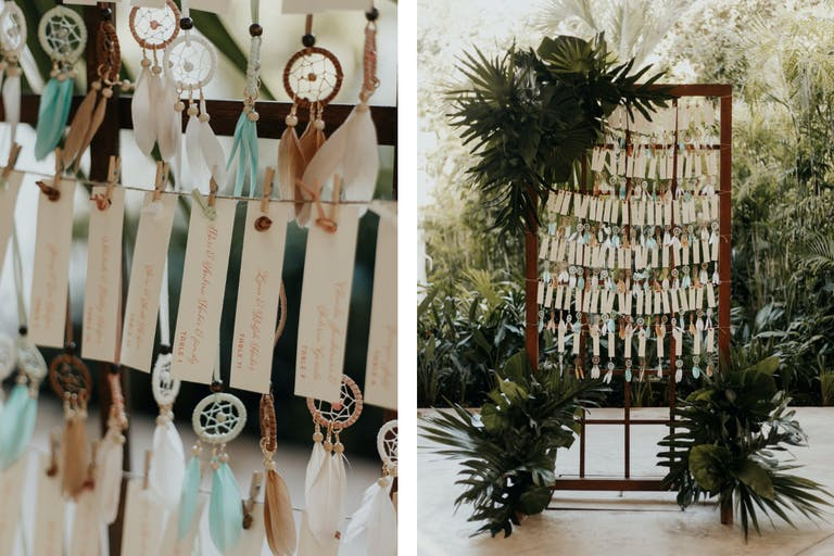 Boho Wedding Seating Chart With Mini Dream Catchers Attached to Each Name | PartySlate