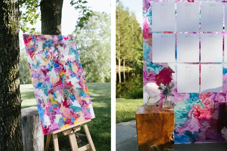 Outdoor Wedding With Colorful Boho-Style Watercolor Signage and Seating Chart | PartySlate