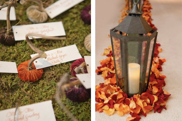 Wedding Décor: Candle-Lit Lantern and Fall-Hued Petals With Velvet Pumpkin Escort Cards on a Bed of Green Moss | PartySlate