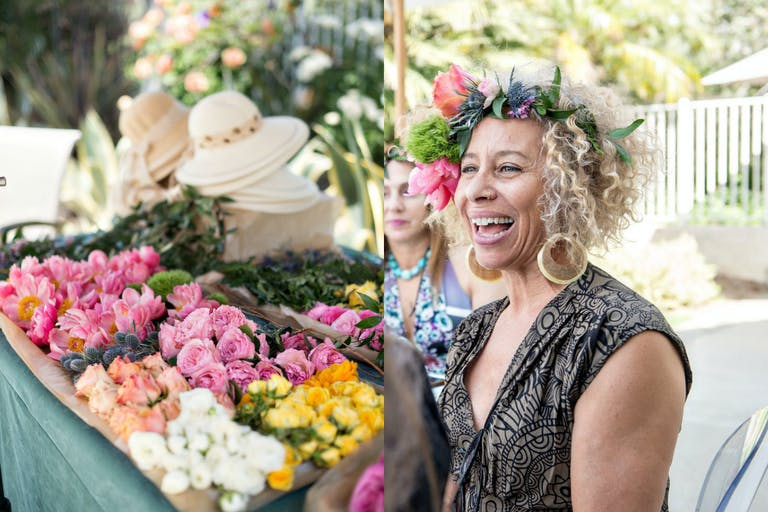Flower Crown Making Station at Baby Shower Party | PartySlate