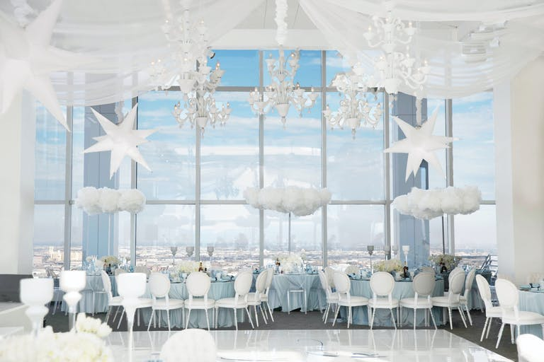 Dream Big Little One Kids Birthday Party in the Clouds with White Silver and Blue Decorations | PartySlate