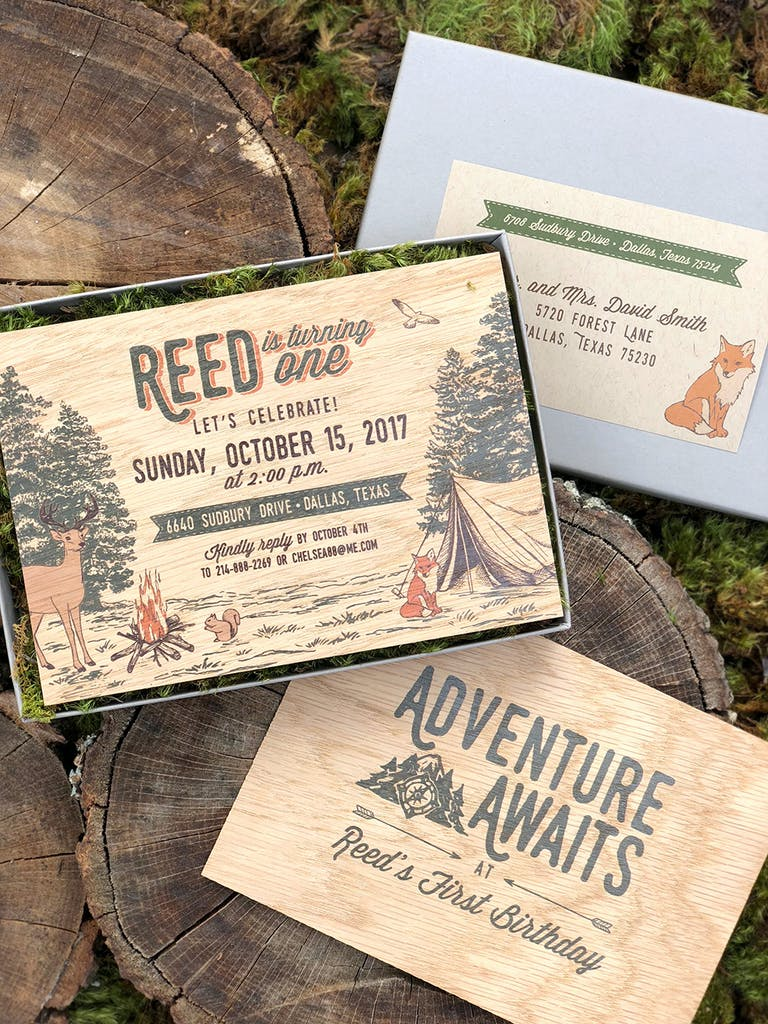 Forest Adventure-Themed Kids First Birthday Party Wood Invitations | PartySlate