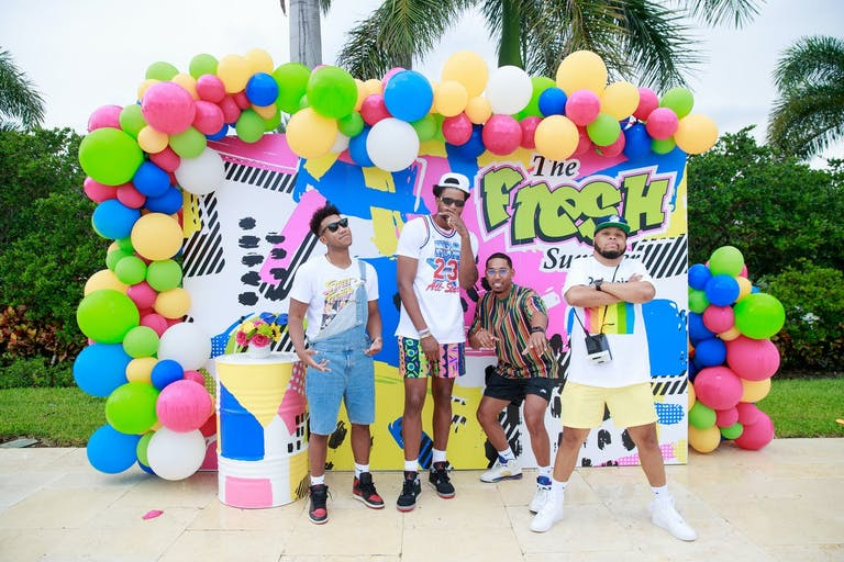 Pool Party Ideas: Fresh Prince of Bel Air Themed Pool Party Backdrop With Balloons | PartySlate