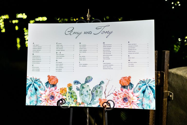 White Wedding Seating Chart With Colorful Succulent and Dessert Floral Designs | PartySlate