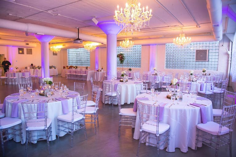 Wedding Reception With Purple Uplighting at Room 1520 in Chicago's West Loop Neighborhood | PartySlate