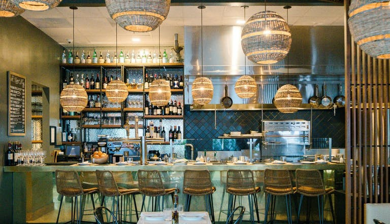 The Alley Bar With Whicker Basket Lighting at The Betsy South Beach in Miami Beach, FL | PartySlate