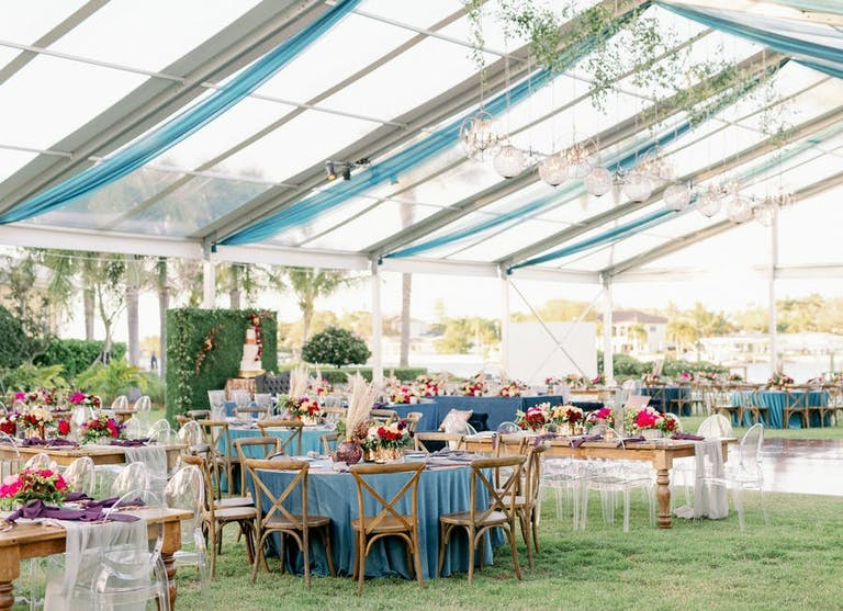 The Perfect Space at an Outdoor Restaurant for Private Party. Gorgeous Tent With Boho Décor | PartySlate