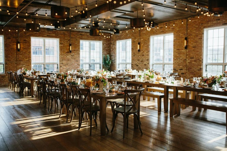 Rustic Modern Wedding Reception at Loft Lucia in West Loop Chicago | PartySlate