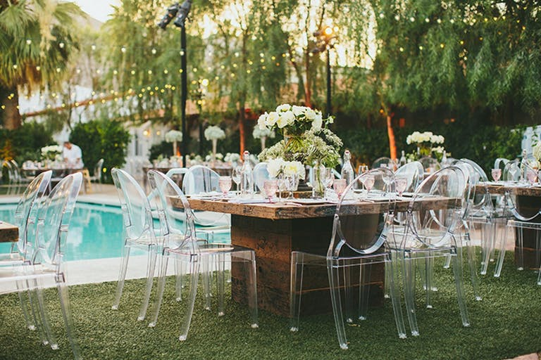 Rustic Pooslide Tablescapes With Ghost Chair Seating | PartySlate