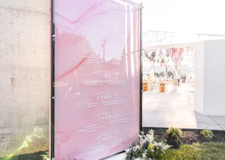 Iridescent Pink Seating Chart for Wedding | PartySlate